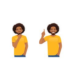 Young african man thinking making idea vector