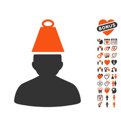 heavy person stress icon with valentine bonus vector image