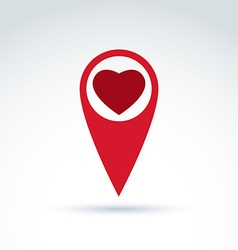 map pointer with a loving heart icon Place vector image