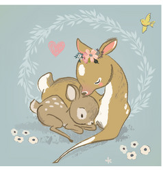 cute deer with a child vector image