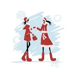 Girls in winter coat for your design vector image vector image