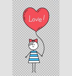 happy valentinesgirl holding heart shaped balloon vector image