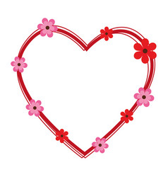 heart cute floral frame decorative vector image vector image
