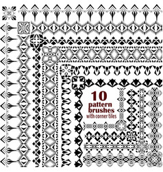 Set of geometric borders in ethnic style vector