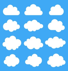 Set of white clouds vector image