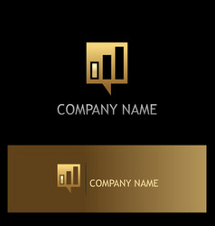square business talk communication gold logo vector image vector image