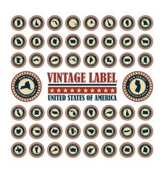 Vintage label usa set vector