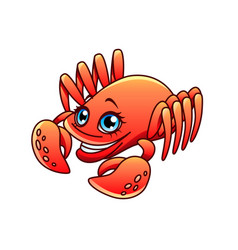 cartoon crab isolated vector image vector image