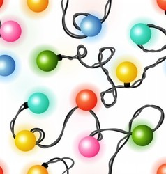 Christmas lights seamless pattern vector image