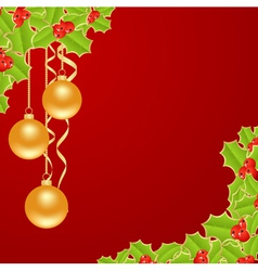 christmas red background with holly and balls vector image vector image