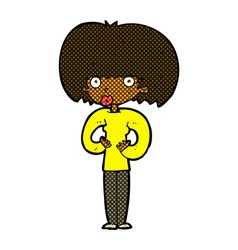 comic cartoon surprised woman vector image