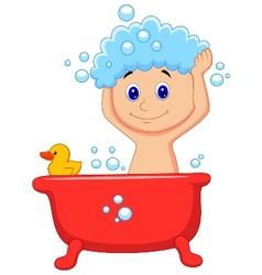 Cute cartoon boy having bath vector image vector image