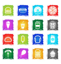 fast food simply icons vector image vector image