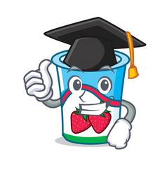 Graduation yogurt character cartoon style vector