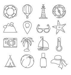 Outline summer or vacation icon set isolate vector