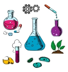 Science research and experiment elements vector image vector image
