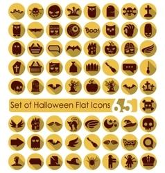 Set of halloween flat icons vector image