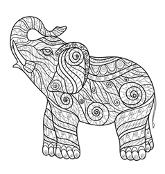 Stylized elephant in a graphic style Zentangle vector image