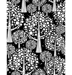winter forest seamless background black and white vector image vector image