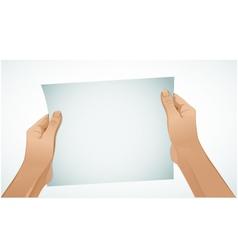 Woman hands keep paper vector image