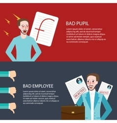 Bad pupil employee best get f thumbs down future vector