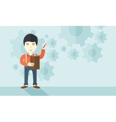 Chinese lecturer with gears background vector
