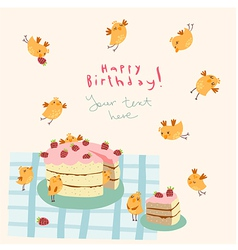 Greeting card with funny birds vector image