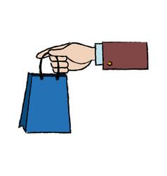 Hand holding paper bag shop image vector