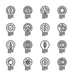 Lightbulb thin line icon set editable stroke vector