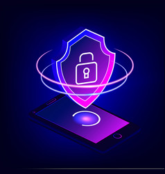 mobile security app on 3d smartphone screen vector image vector image