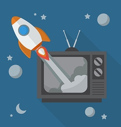 Rocket launching from retro television vector image vector image