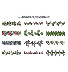 Set of twelve hand drawn pattern floral brushes vector image vector image