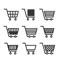 shopping cart icons set on white background vector image vector image