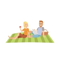 Woman Eating Apple And Man Reading Newspaper On vector image vector image