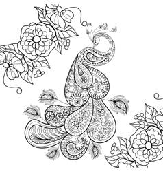 Zentangle Peacock totem in flowersfor adult anti vector image vector image
