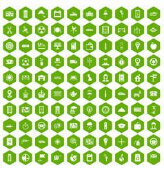 100 taxi icons hexagon green vector