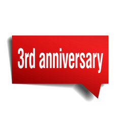 3rd anniversary red 3d speech bubble vector image