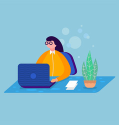 a business young woman working in a office vector image
