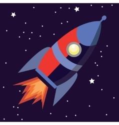 a cute cartoon rocket space ship vector image