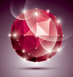 Abstract 3D ruby twinkle sphere with sparkles red vector