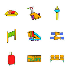 Airplane flight icons set cartoon style vector