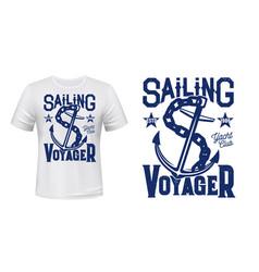 Anchor t-shirt print mockup sailing and yachting vector