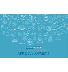 App Development Concept with Doodle design style vector image