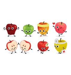 Apple characters cartoon fruit mascots with funny vector