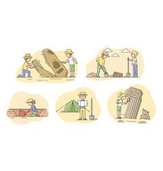 Archeology excavation concept set people vector