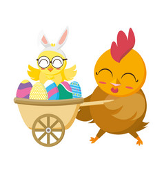 beautiful hen with egg painted in wheelbarrow vector image