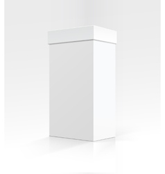 Blank White Vertical Carton box on Background vector