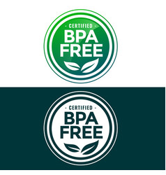 bpa free label in green and flat style vector image