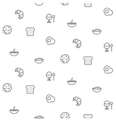 breakfast line icons seamless pattern food vector image