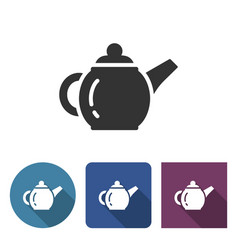 brewing teapot icon in different variants with vector image